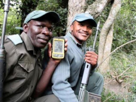 Rangers with GPS device
